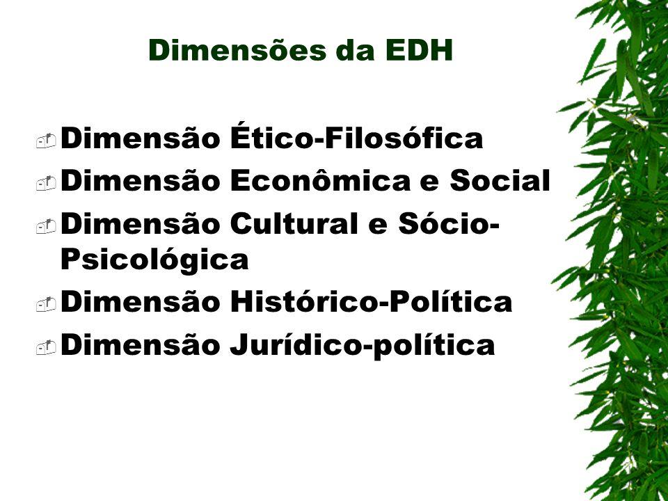Dimensões da EDH Dimensão Ético-Filosófica. Dimensão Econômica e Social. Dimensão Cultural e Sócio-Psicológica.