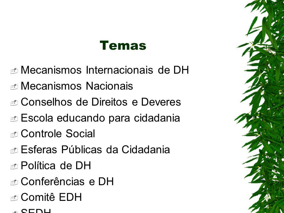 Temas Mecanismos Internacionais de DH Mecanismos Nacionais