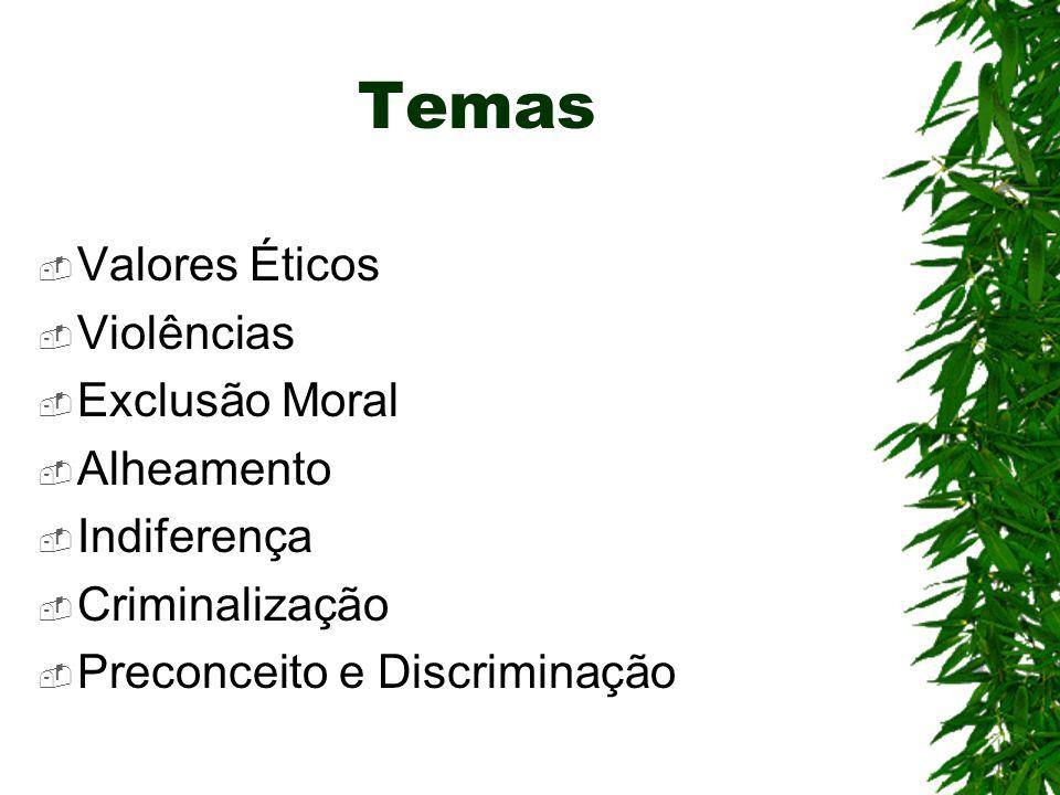 Temas Valores Éticos Violências Exclusão Moral Alheamento Indiferença