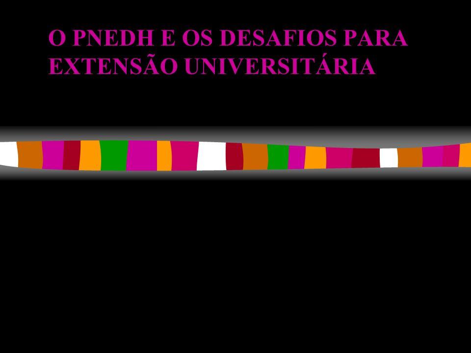 O PNEDH E OS DESAFIOS PARA EXTENSÃO UNIVERSITÁRIA