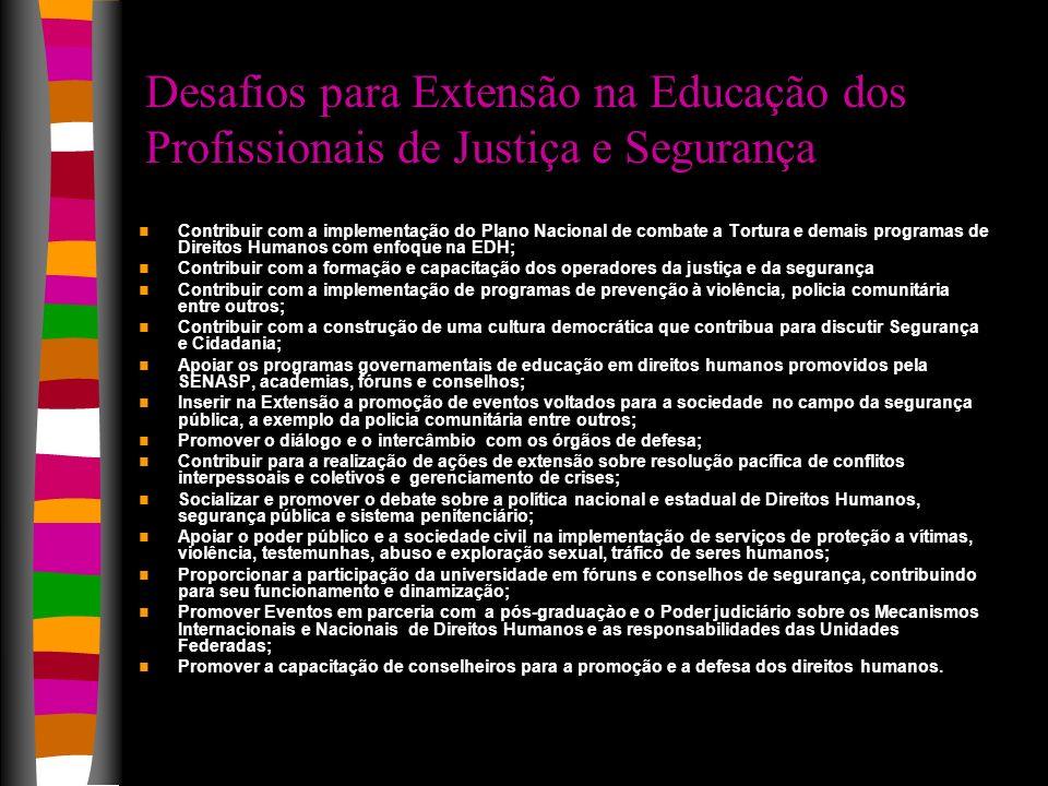 Desafios para Extensão na Educação dos Profissionais de Justiça e Segurança
