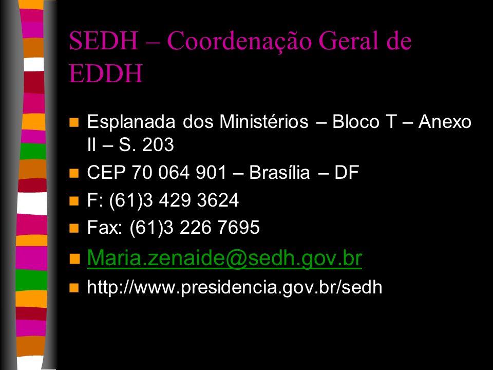 SEDH – Coordenação Geral de EDDH