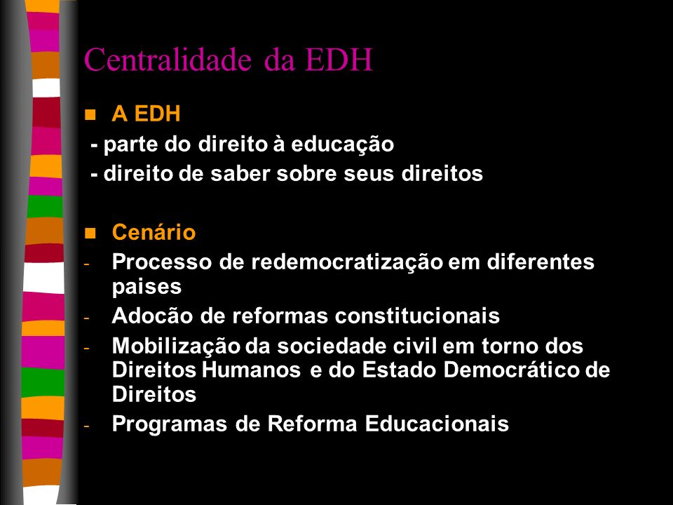 Centralidade da EDH A EDH - parte do direito à educação