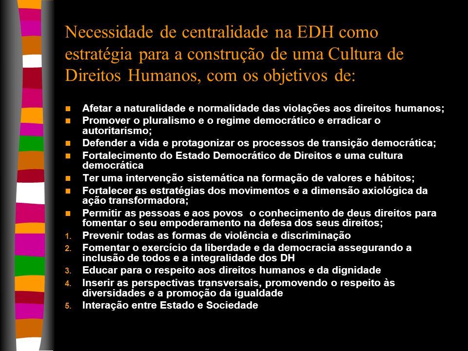 Necessidade de centralidade na EDH como estratégia para a construção de uma Cultura de Direitos Humanos, com os objetivos de: