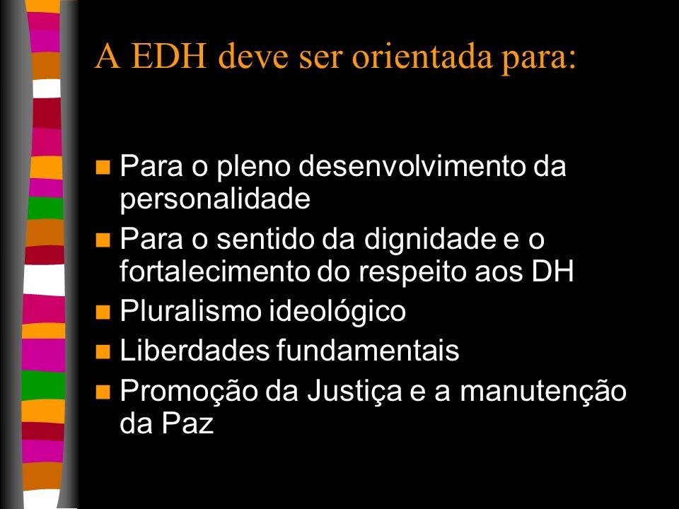 A EDH deve ser orientada para: