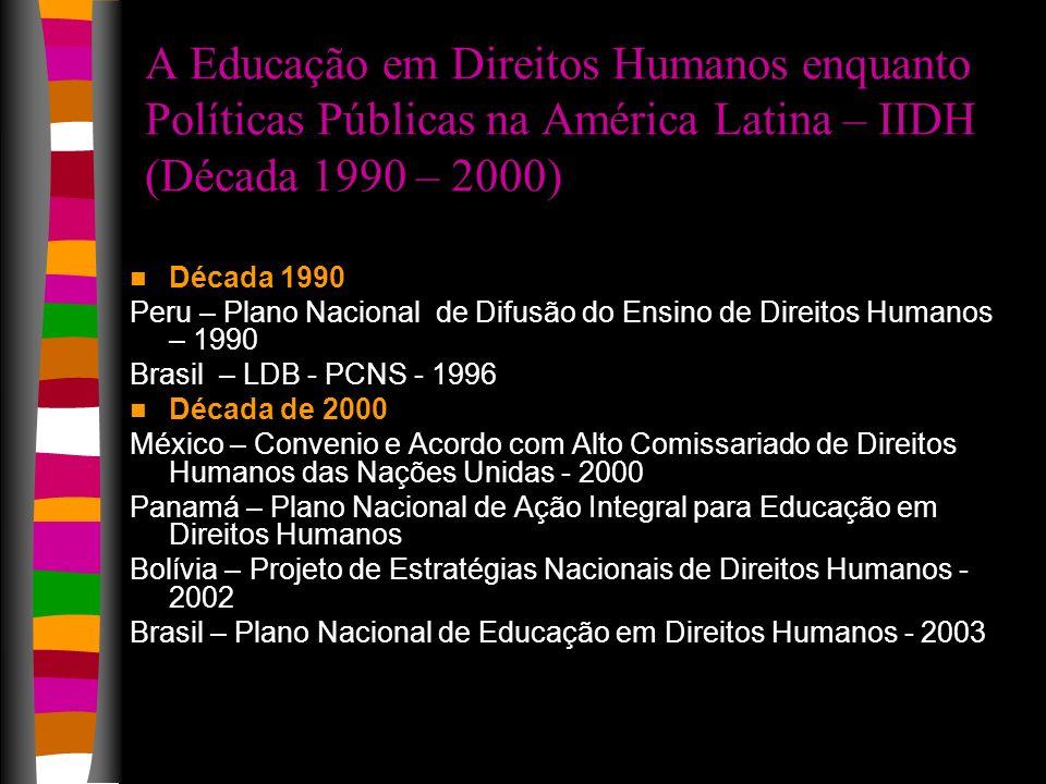 A Educação em Direitos Humanos enquanto Políticas Públicas na América Latina – IIDH (Década 1990 – 2000)