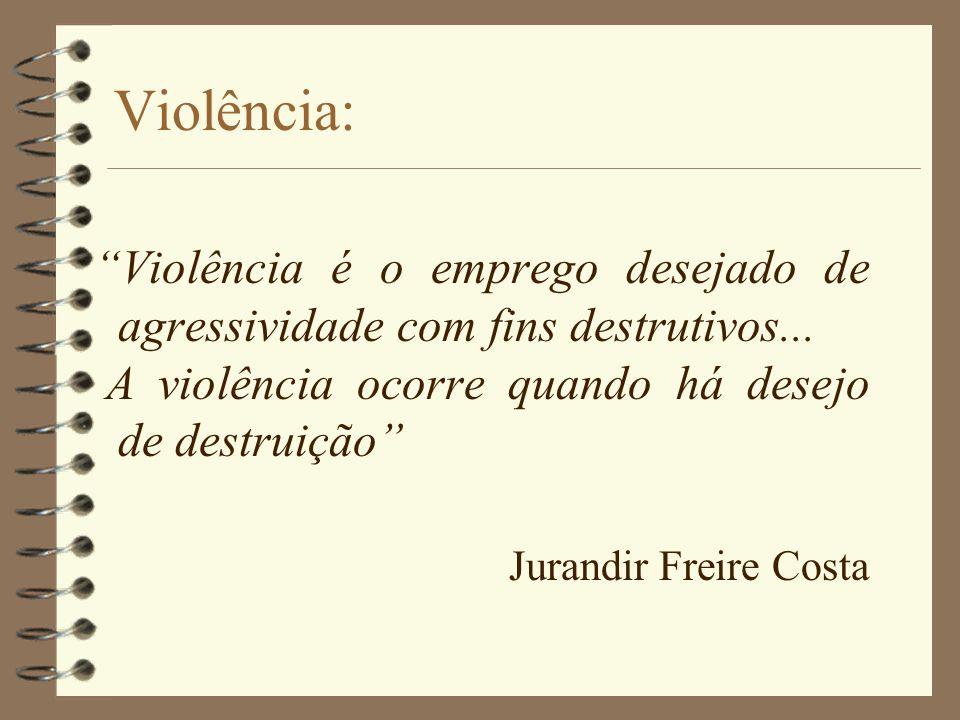 Violência: Violência é o emprego desejado de agressividade com fins destrutivos... A violência ocorre quando há desejo de destruição