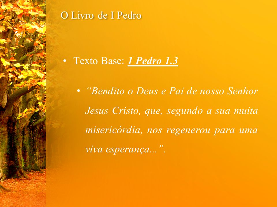O Livro de I Pedro Texto Base: 1 Pedro 1.3.