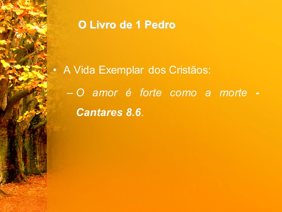 O Livro de 1 Pedro A Vida Exemplar dos Cristãos: O amor é forte como a morte - Cantares 8.6.