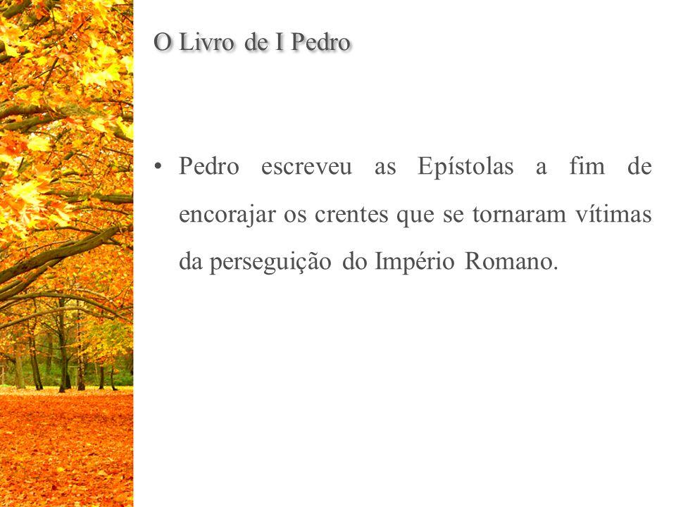 O Livro de I Pedro Pedro escreveu as Epístolas a fim de encorajar os crentes que se tornaram vítimas da perseguição do Império Romano.