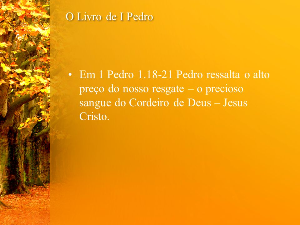 O Livro de I Pedro Em 1 Pedro 1.18-21 Pedro ressalta o alto preço do nosso resgate – o precioso sangue do Cordeiro de Deus – Jesus Cristo.