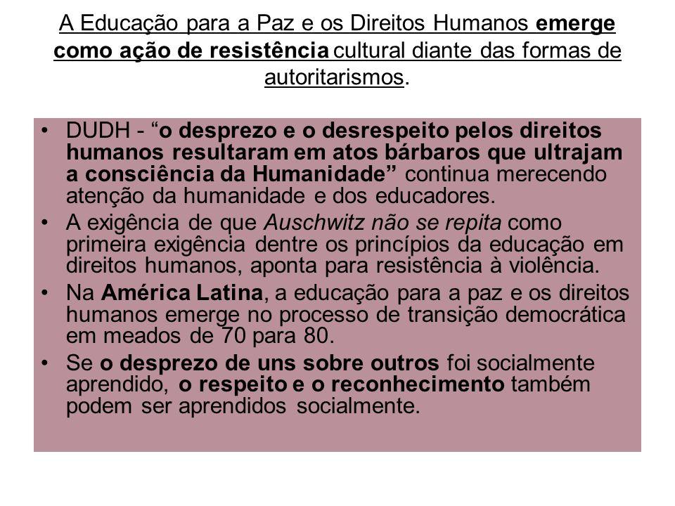 A Educação para a Paz e os Direitos Humanos emerge como ação de resistência cultural diante das formas de autoritarismos.