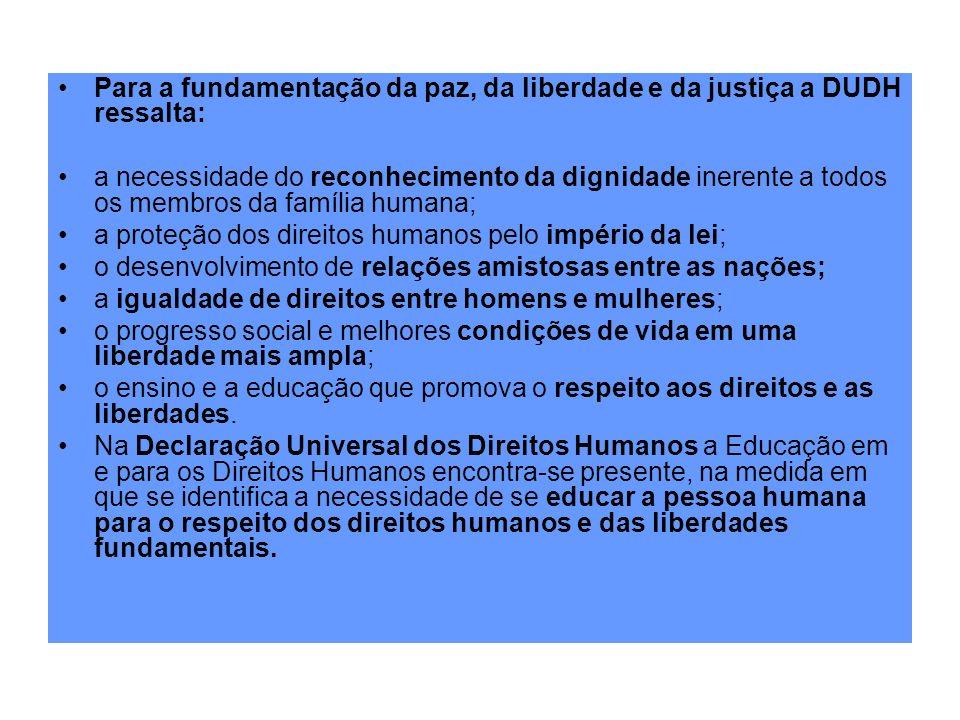 Para a fundamentação da paz, da liberdade e da justiça a DUDH ressalta: