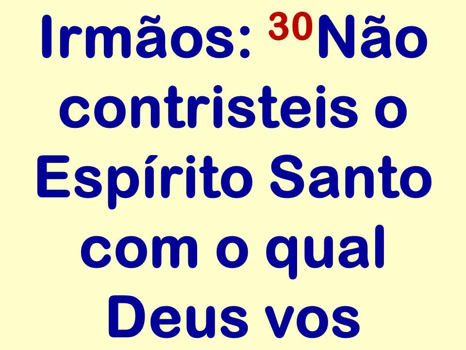Irmãos: 30Não contristeis o Espírito Santo com o qual Deus vos
