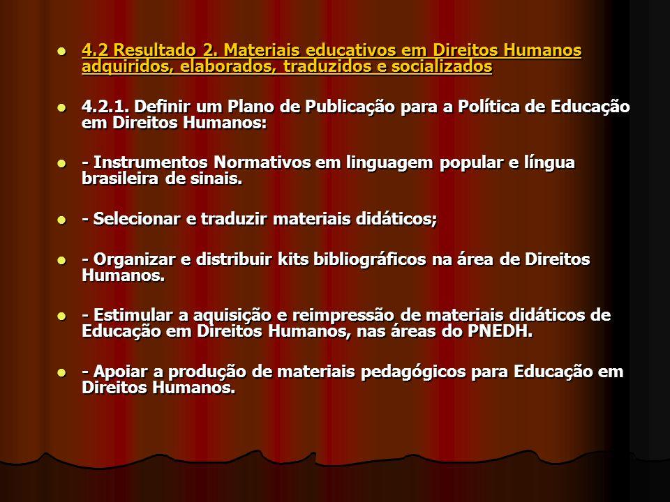 4.2 Resultado 2. Materiais educativos em Direitos Humanos adquiridos, elaborados, traduzidos e socializados