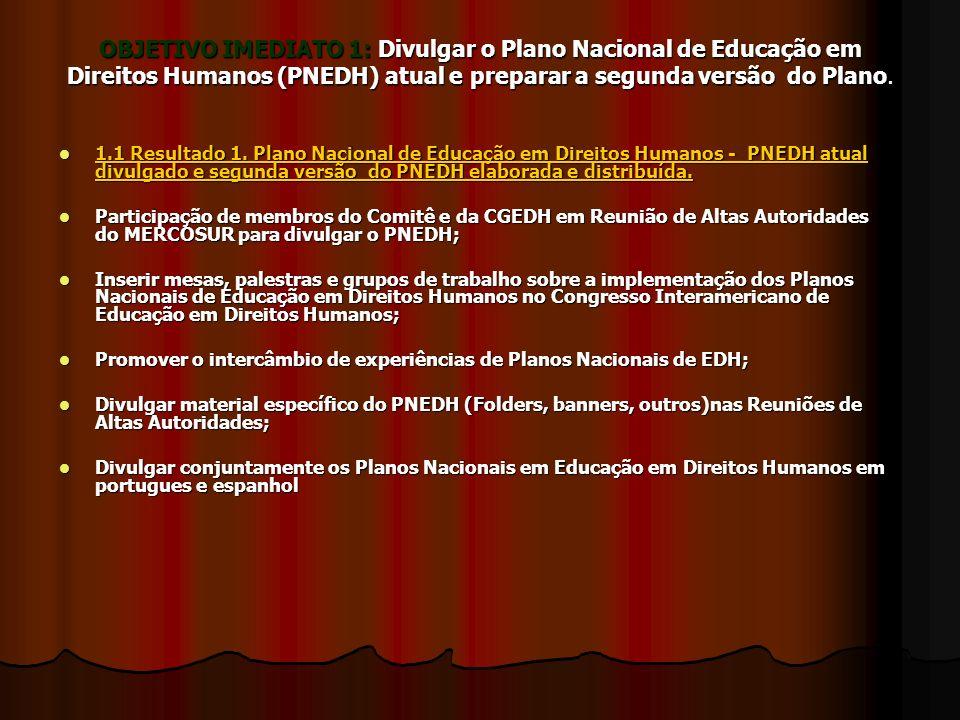 OBJETIVO IMEDIATO 1: Divulgar o Plano Nacional de Educação em Direitos Humanos (PNEDH) atual e preparar a segunda versão do Plano.