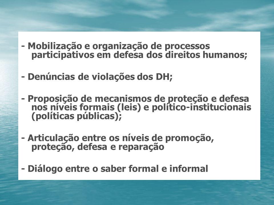 - Mobilização e organização de processos participativos em defesa dos direitos humanos;