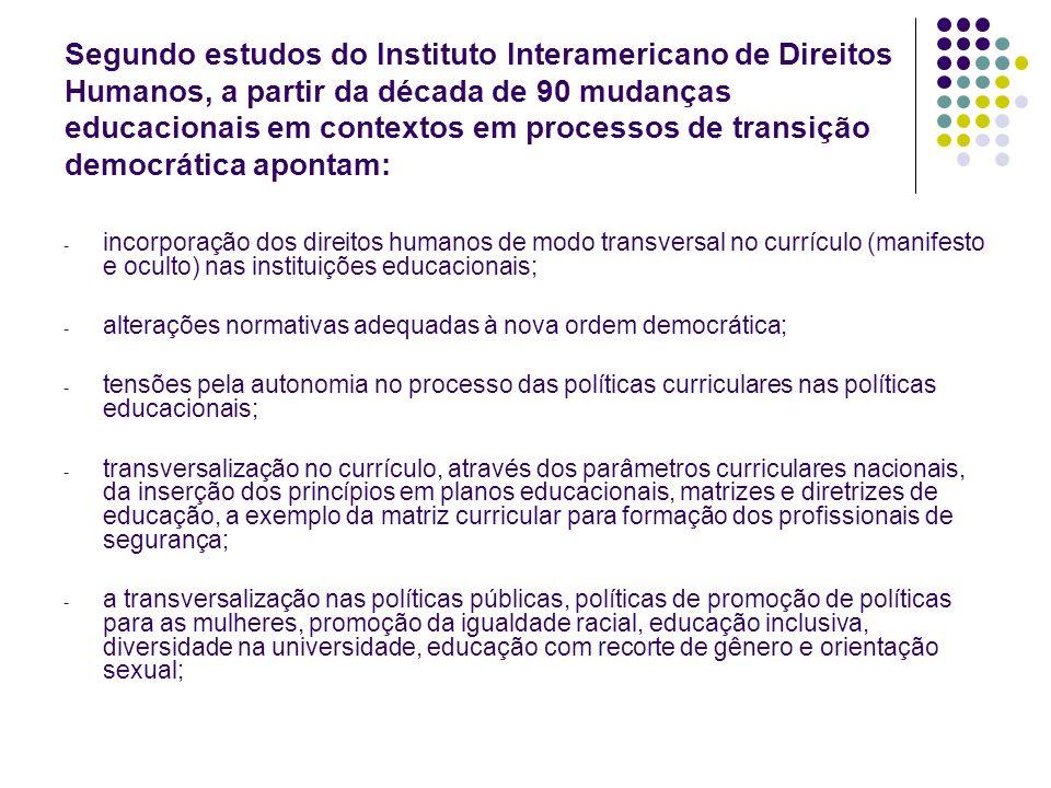 Segundo estudos do Instituto Interamericano de Direitos Humanos, a partir da década de 90 mudanças educacionais em contextos em processos de transição democrática apontam: