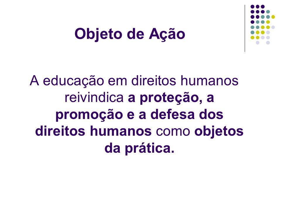 Objeto de Ação A educação em direitos humanos reivindica a proteção, a promoção e a defesa dos direitos humanos como objetos da prática.