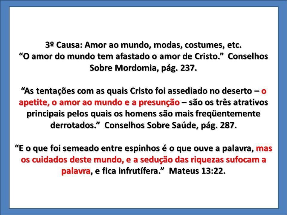 3º Causa: Amor ao mundo, modas, costumes, etc.