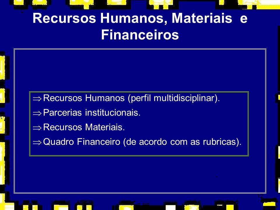 Recursos Humanos, Materiais e Financeiros