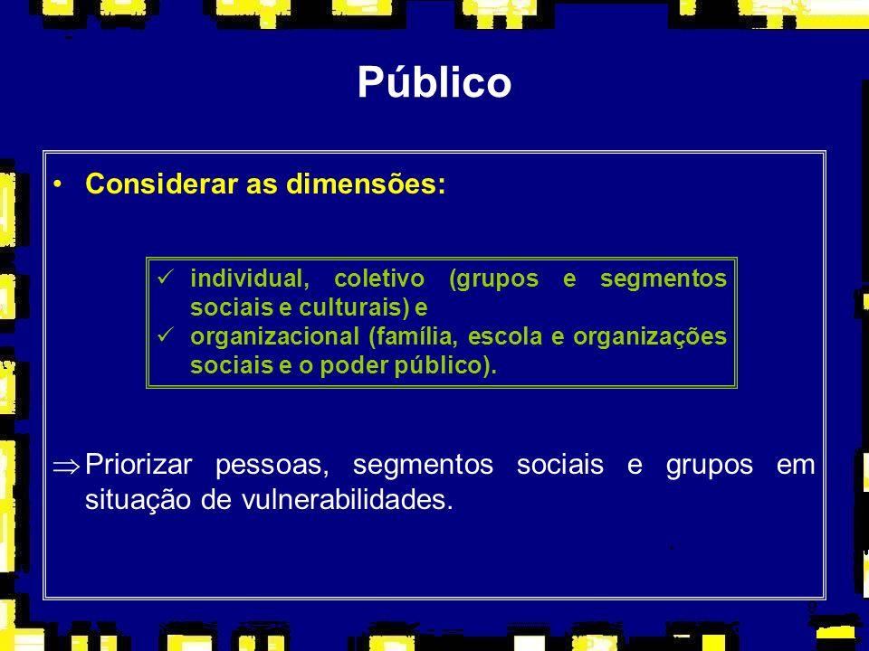 Público Considerar as dimensões: