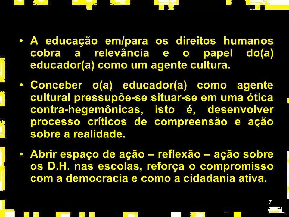 A educação em/para os direitos humanos cobra a relevância e o papel do(a) educador(a) como um agente cultura.