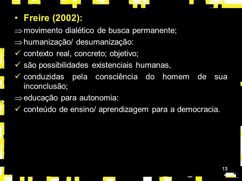 Freire (2002): movimento dialético de busca permanente;