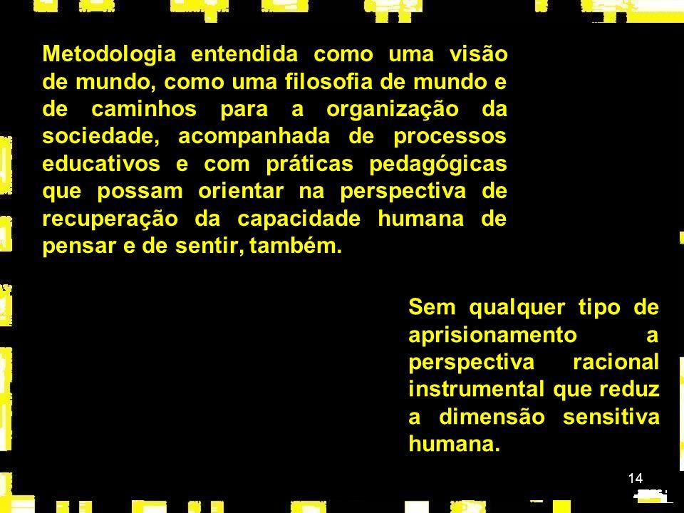 Metodologia entendida como uma visão de mundo, como uma filosofia de mundo e de caminhos para a organização da sociedade, acompanhada de processos educativos e com práticas pedagógicas que possam orientar na perspectiva de recuperação da capacidade humana de pensar e de sentir, também.