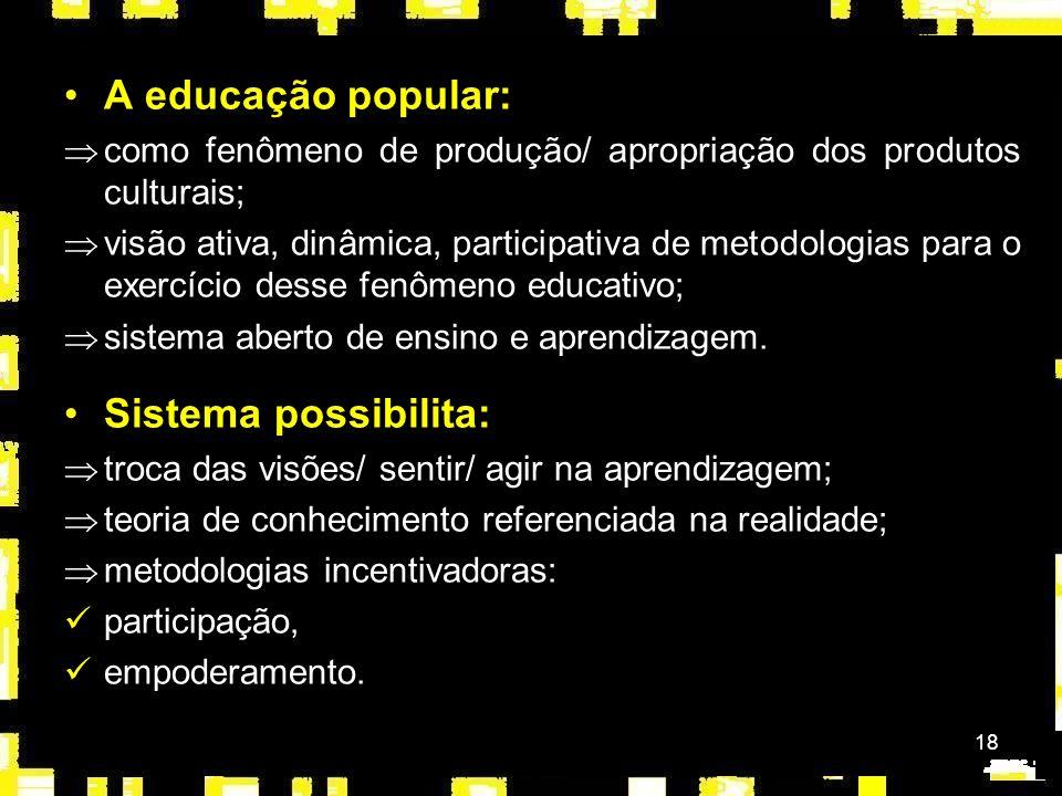 A educação popular: Sistema possibilita: