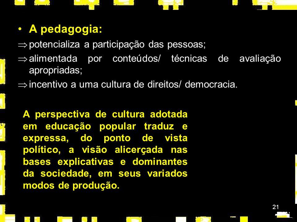 A pedagogia: potencializa a participação das pessoas;