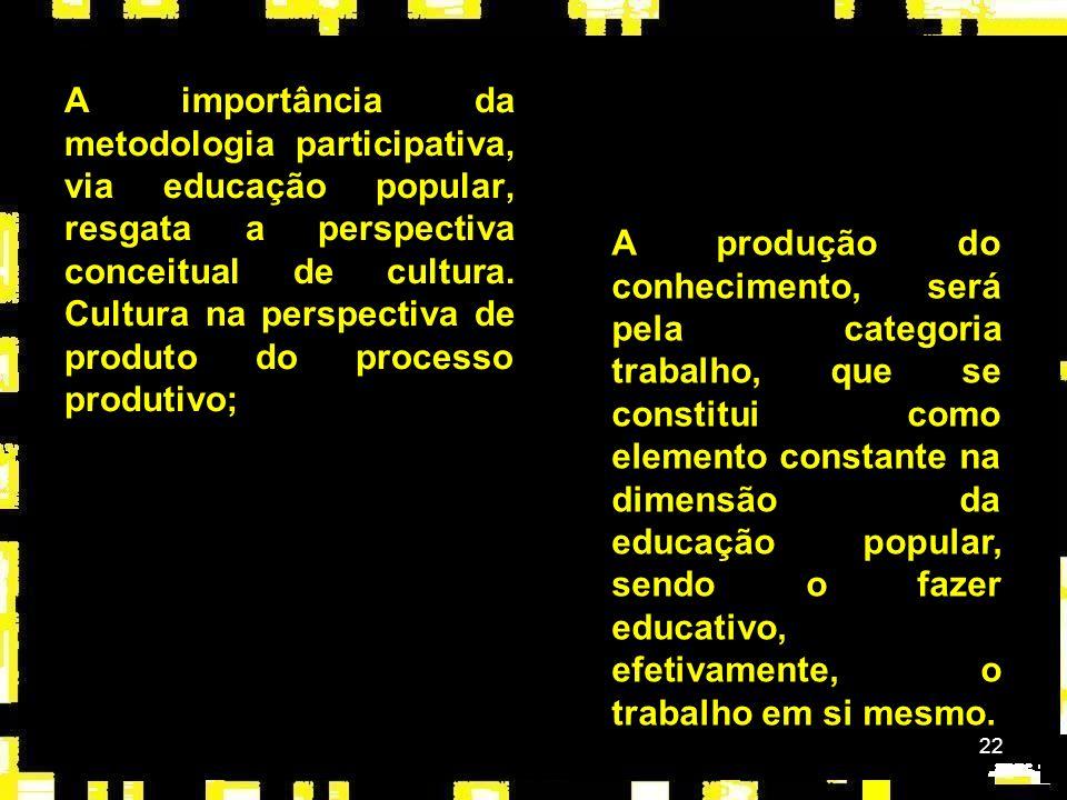 A importância da metodologia participativa, via educação popular, resgata a perspectiva conceitual de cultura. Cultura na perspectiva de produto do processo produtivo;