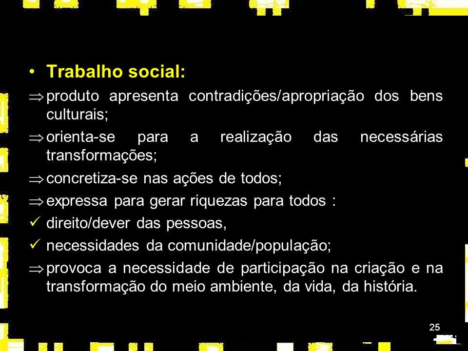 Trabalho social: produto apresenta contradições/apropriação dos bens culturais; orienta-se para a realização das necessárias transformações;