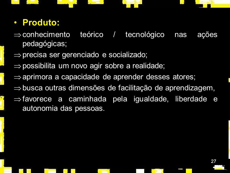 Produto: conhecimento teórico / tecnológico nas ações pedagógicas;