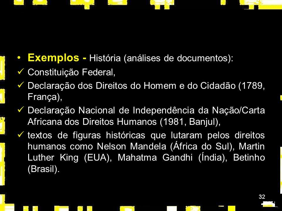Exemplos - História (análises de documentos):