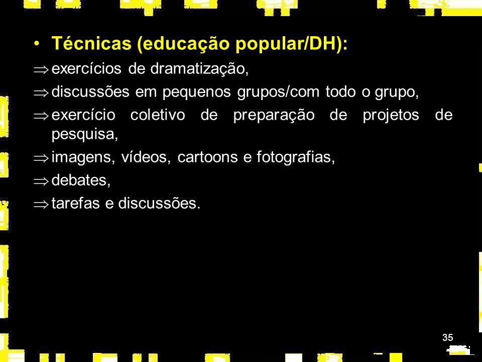Técnicas (educação popular/DH):