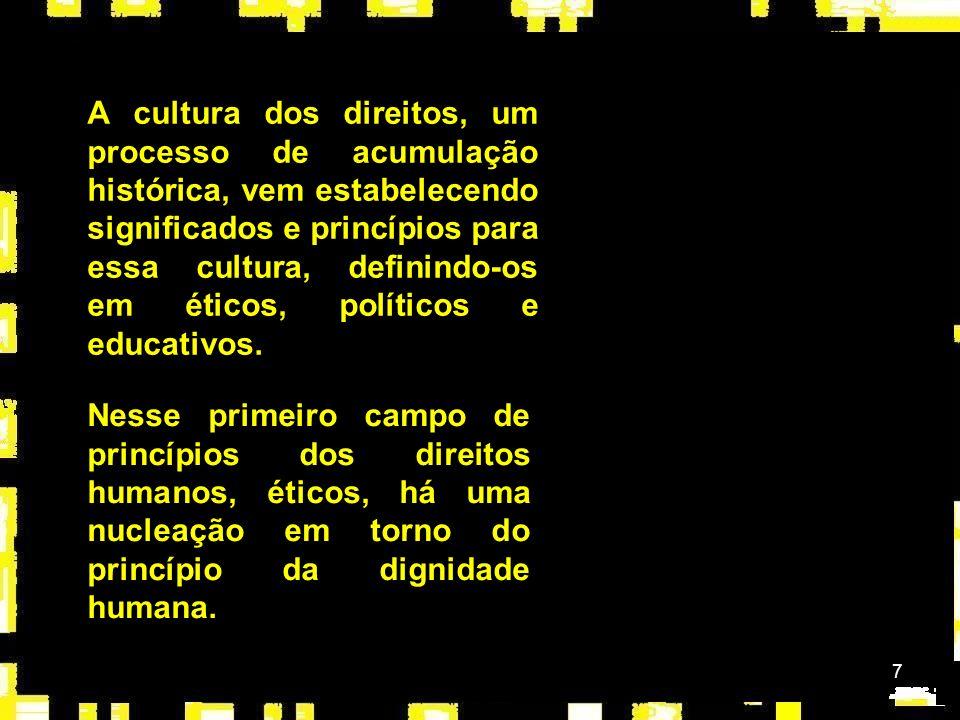 A cultura dos direitos, um processo de acumulação histórica, vem estabelecendo significados e princípios para essa cultura, definindo-os em éticos, políticos e educativos.