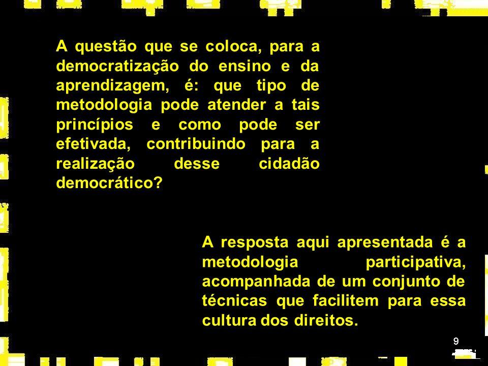 A questão que se coloca, para a democratização do ensino e da aprendizagem, é: que tipo de metodologia pode atender a tais princípios e como pode ser efetivada, contribuindo para a realização desse cidadão democrático