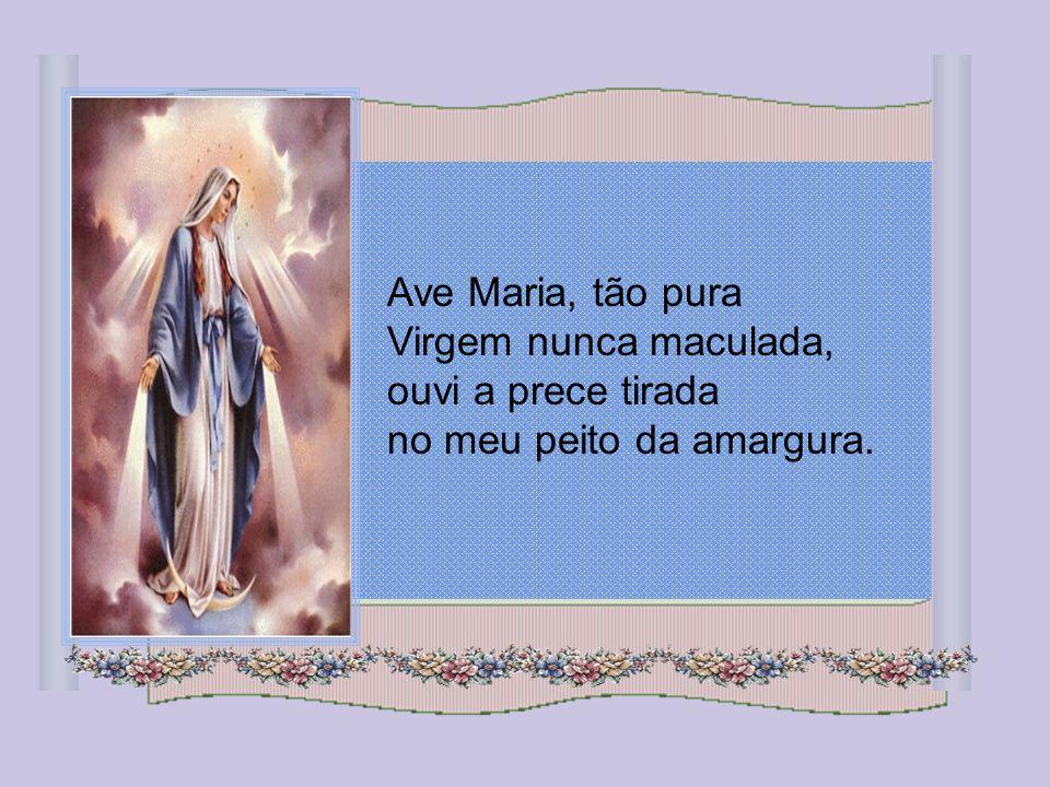 Ave Maria, tão pura Virgem nunca maculada, ouvi a prece tirada no meu peito da amargura.