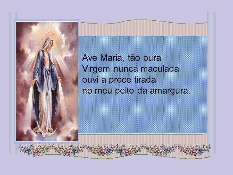 Ave Maria, tão pura Virgem nunca maculada ouvi a prece tirada no meu peito da amargura.