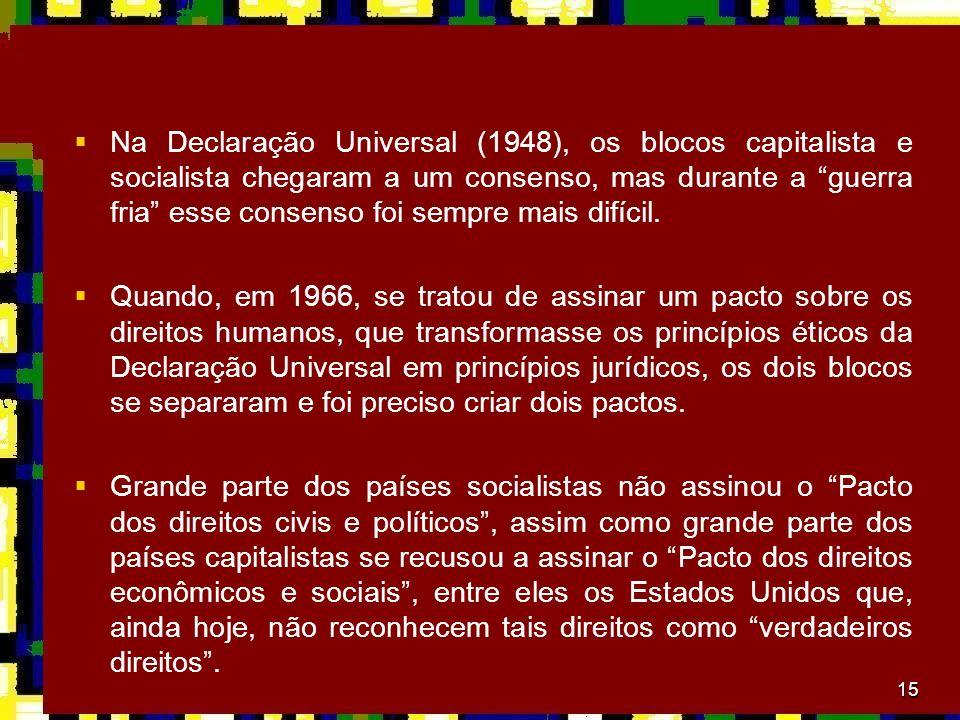 Na Declaração Universal (1948), os blocos capitalista e socialista chegaram a um consenso, mas durante a guerra fria esse consenso foi sempre mais difícil.