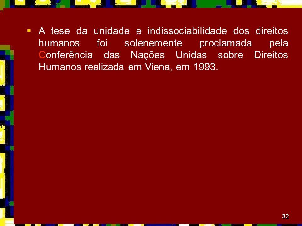 A tese da unidade e indissociabilidade dos direitos humanos foi solenemente proclamada pela Conferência das Nações Unidas sobre Direitos Humanos realizada em Viena, em 1993.