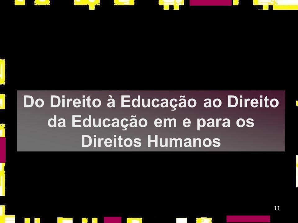Do Direito à Educação ao Direito da Educação em e para os Direitos Humanos