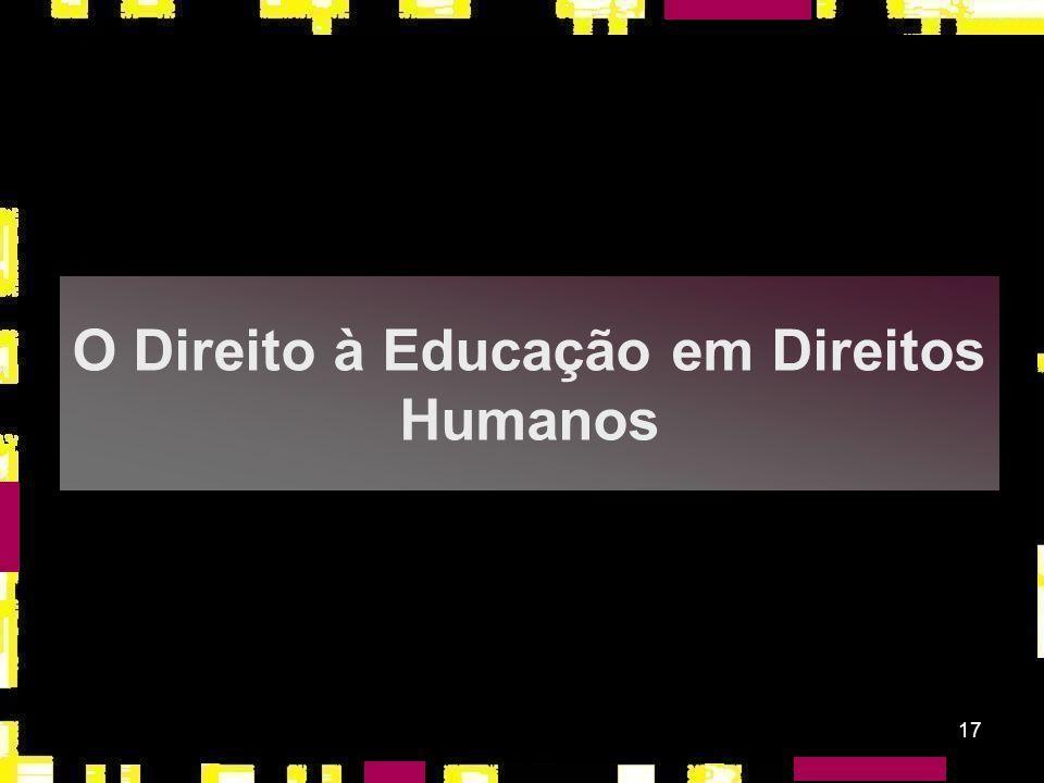 O Direito à Educação em Direitos Humanos