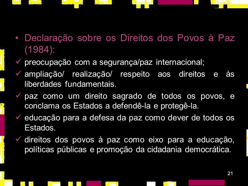 Declaração sobre os Direitos dos Povos à Paz (1984):