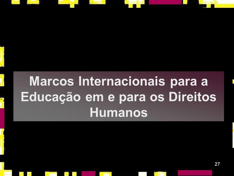 Marcos Internacionais para a Educação em e para os Direitos Humanos