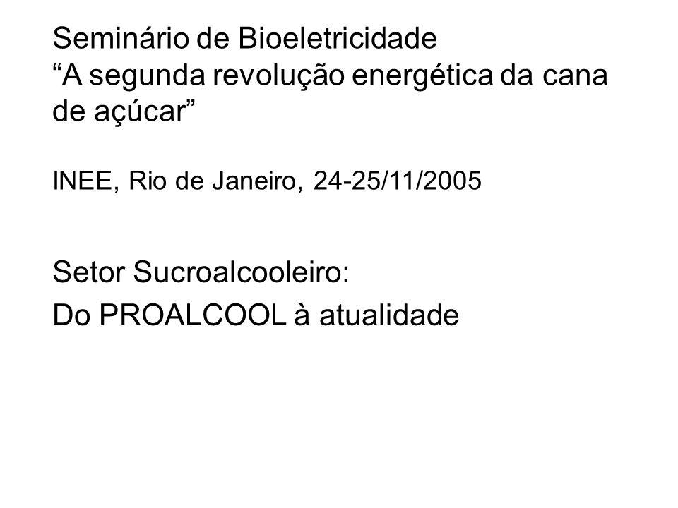 Seminário de Bioeletricidade A segunda revolução energética da cana de açúcar INEE, Rio de Janeiro, 24-25/11/2005