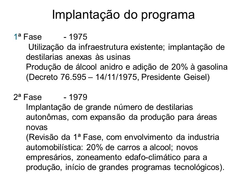Implantação do programa