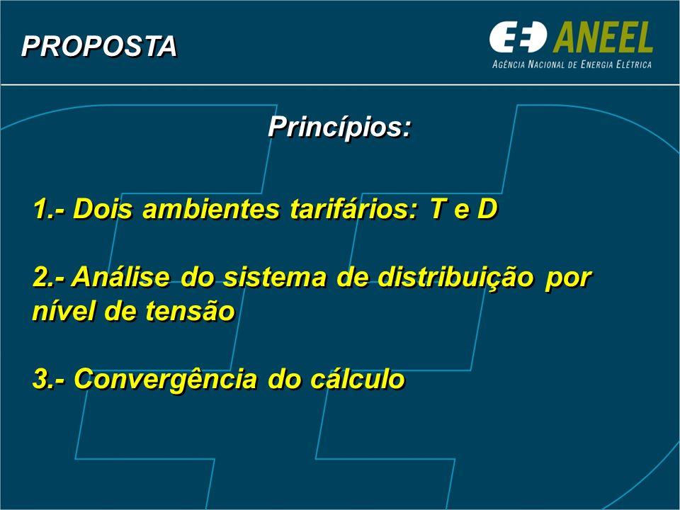 PROPOSTA Princípios: 1.- Dois ambientes tarifários: T e D. 2.- Análise do sistema de distribuição por nível de tensão.