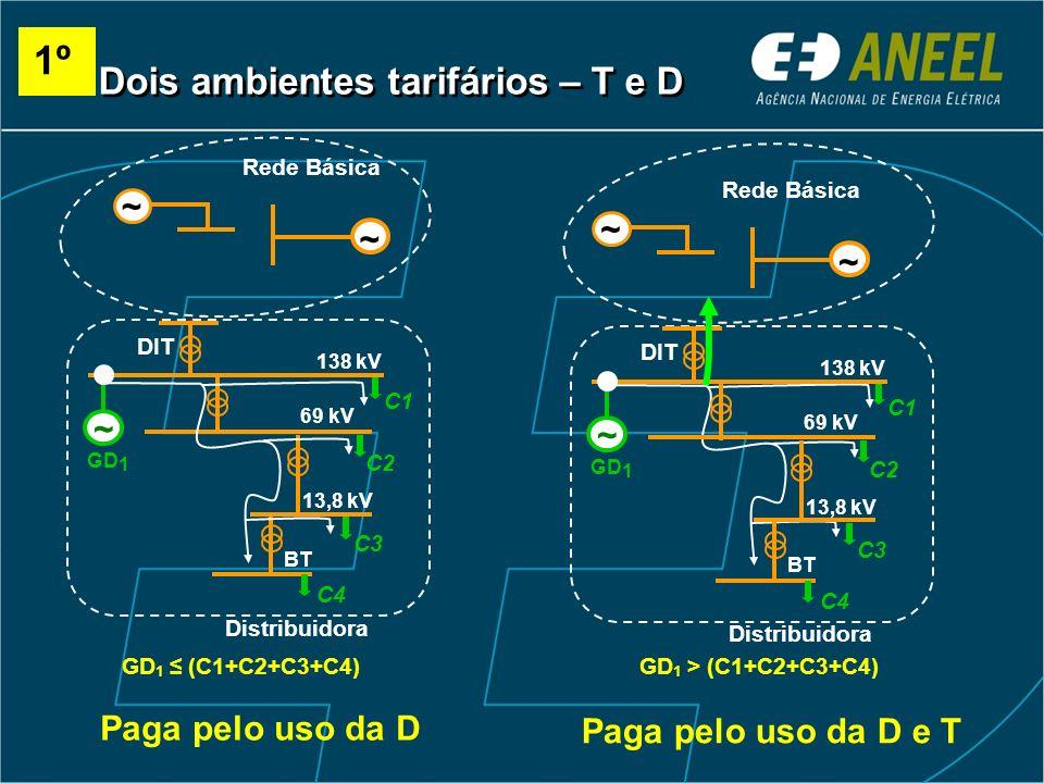 1º Dois ambientes tarifários – T e D ~ ~ ~ ~ Paga pelo uso da D